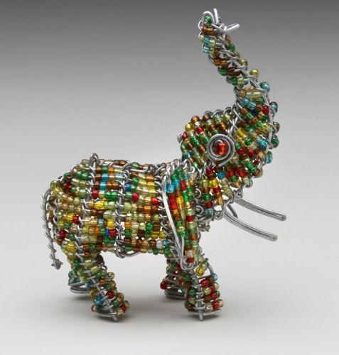 Mini Beaded Wire Elephant