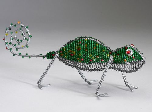 Sm Beaded Wire Chameleon Ndalama African Deserts Crafts
