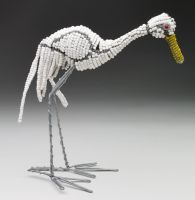SM Beaded Wire White Egret